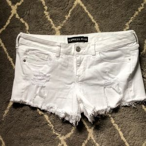 Express White Jean Cut Offs